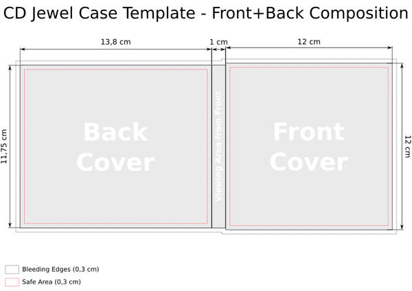 CD Jewel Case Template - Front + Back Composition