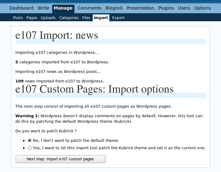 e107 to WordPress import plugin v0.7: News and Categories Imported screenshot